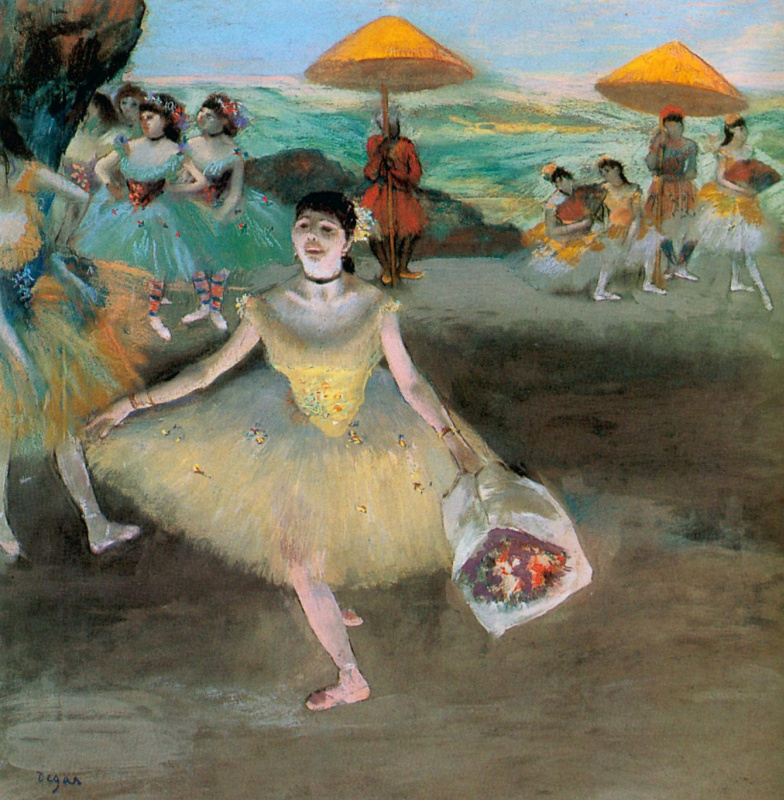 Балерина с букетом в поклоне Эдгар Дега 1877