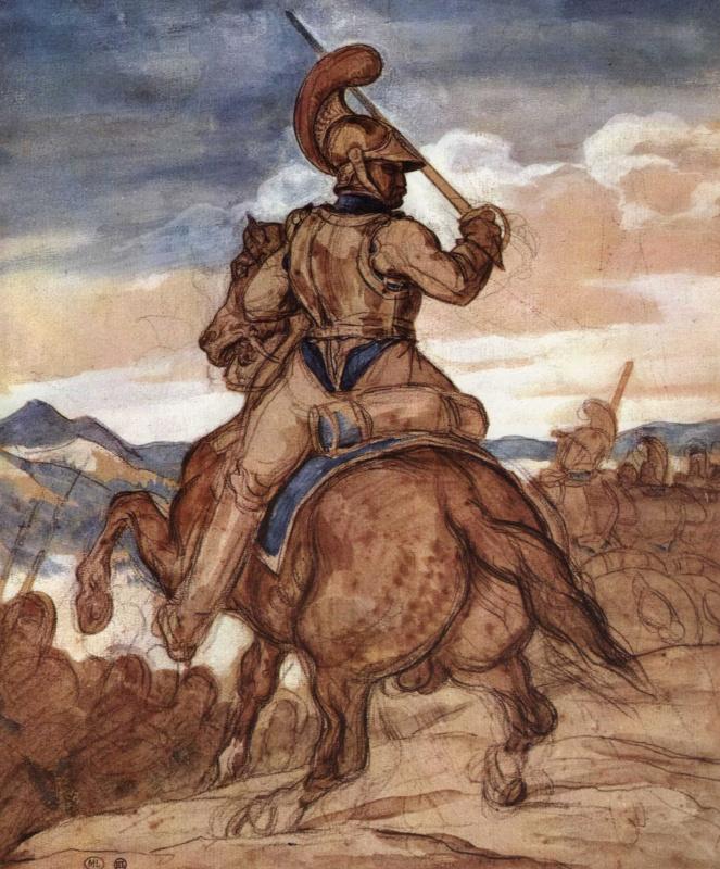 Теодор Жерико. Офицер карабинеров верхом, фигура со спины