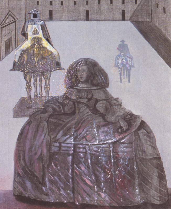 Сальвадор Дали. Инфанта Маргарита, проявляющаяся на силуэтах некоторых кавалеров во внутреннем дворе Эскориала