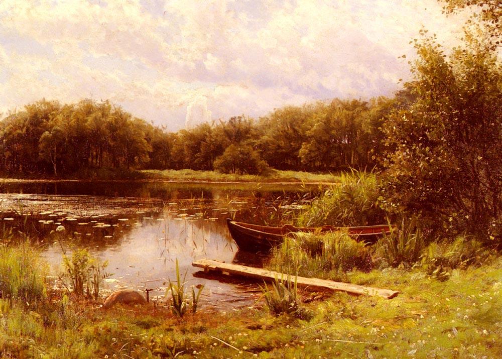 Peder Mørk Mønsted. Boat moored on a quiet lake