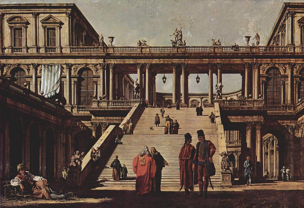 Джованни Антонио Каналь (Каналетто). Каприччио, дворцовая лестница