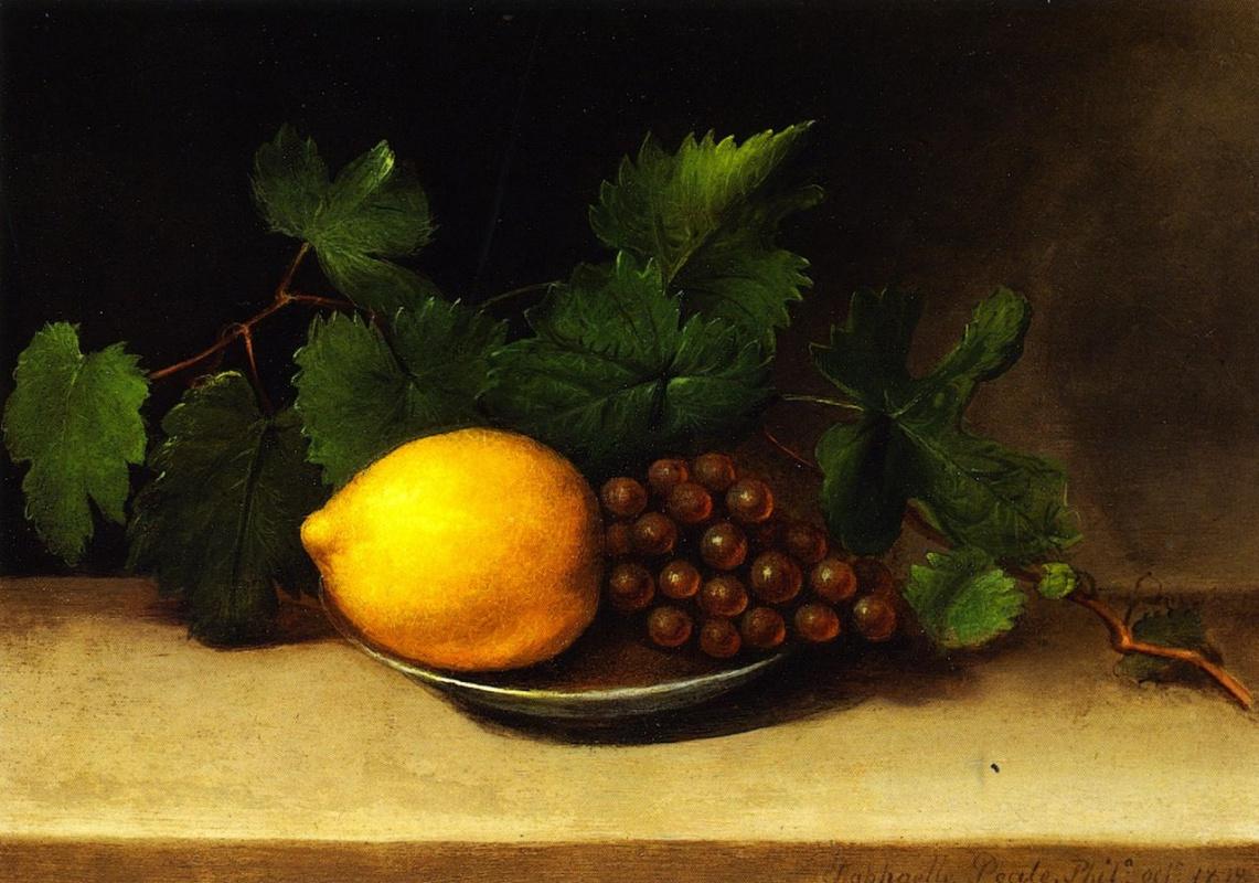 Raphaelle Peale. Lemon and grapes