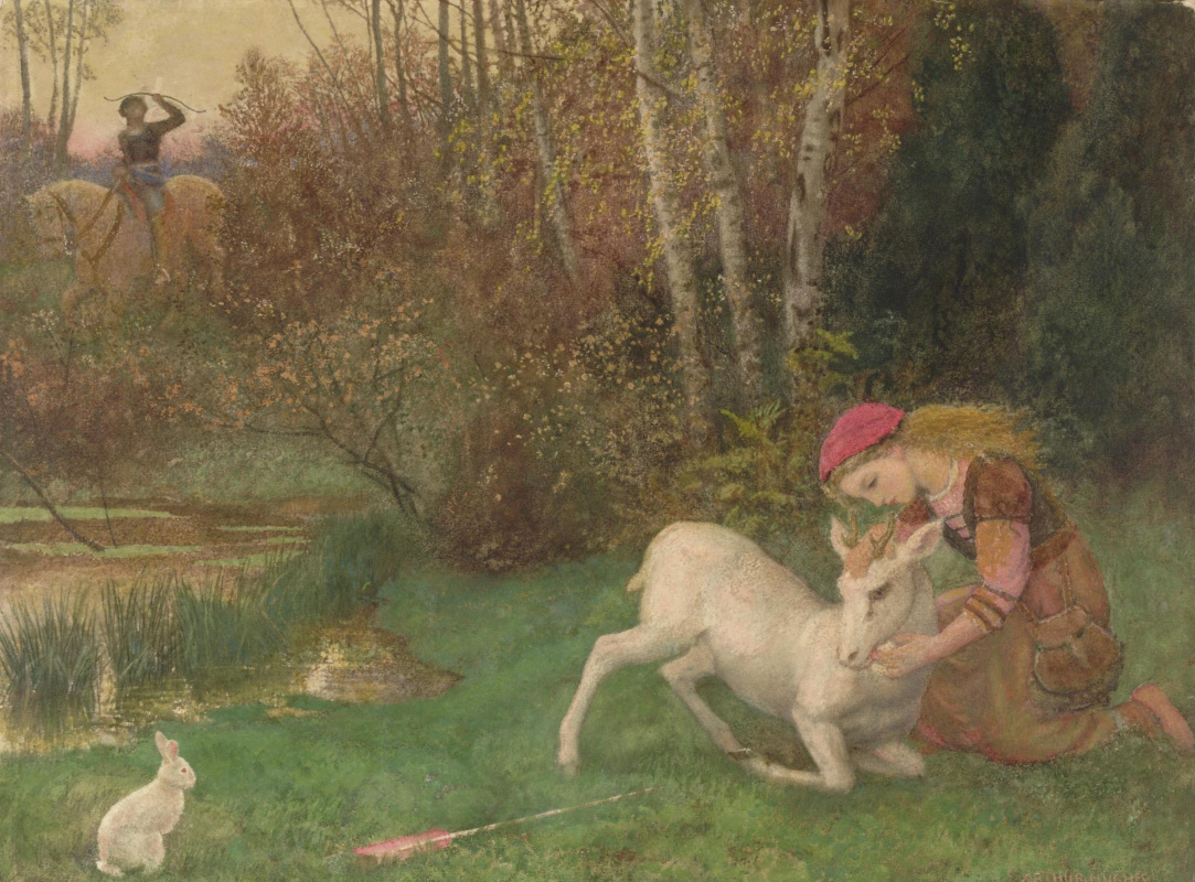 "Arthur Hughes. White deer Illustration to the poem ""Endymion"""