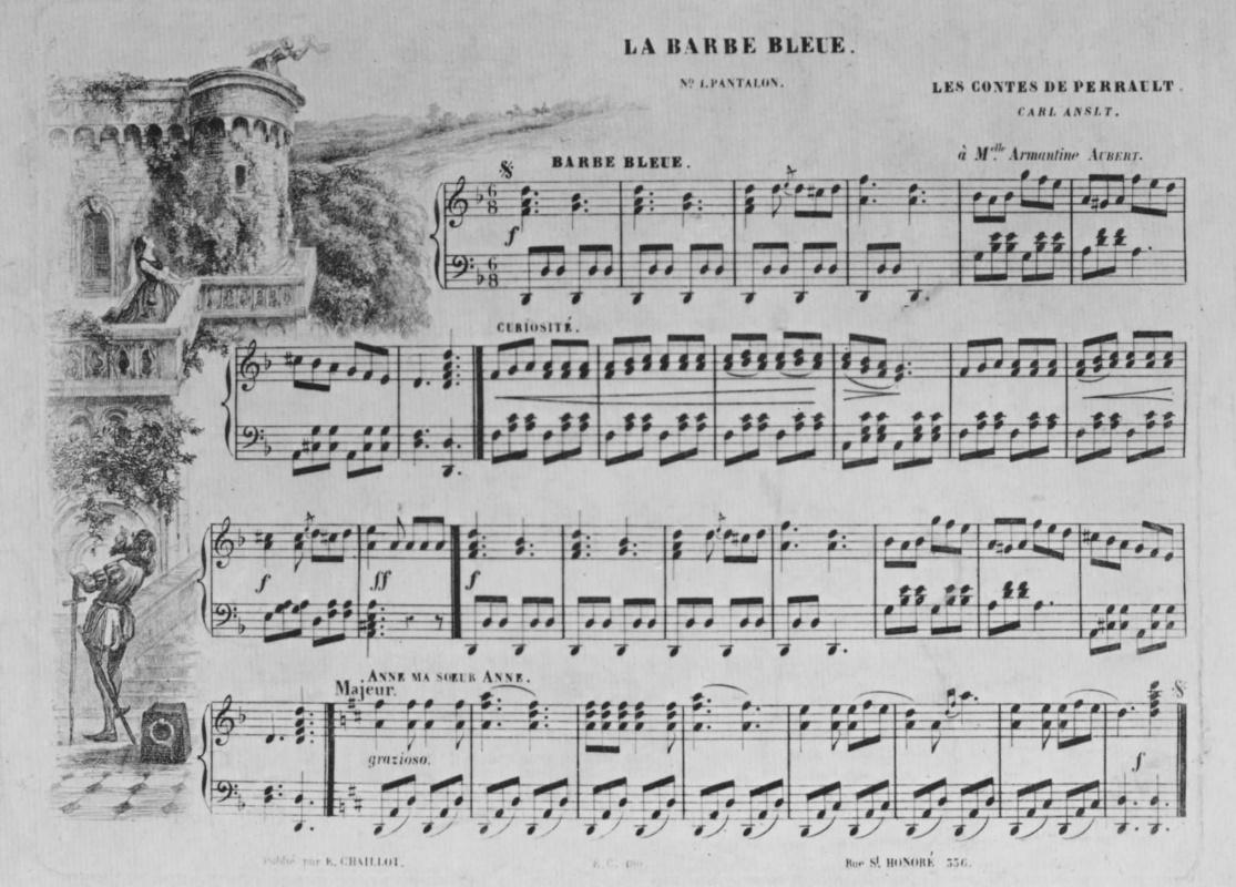 """Шарль-Франсуа Добиньи. Иллюстрация к положенным на музыку сказкам Перро: """"Синяя борода"""""""