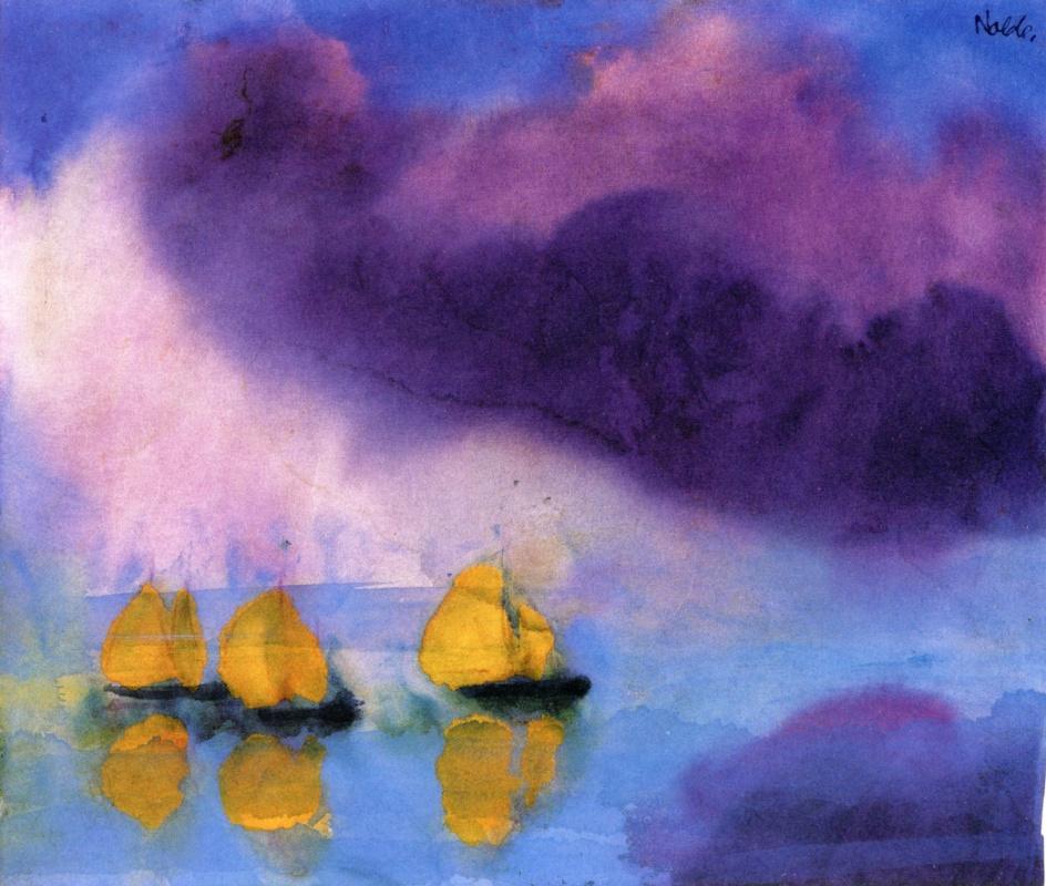 Эмиль Нольде. Пейзаж с фиолетовыми облаками и тремя желтыми парусниками