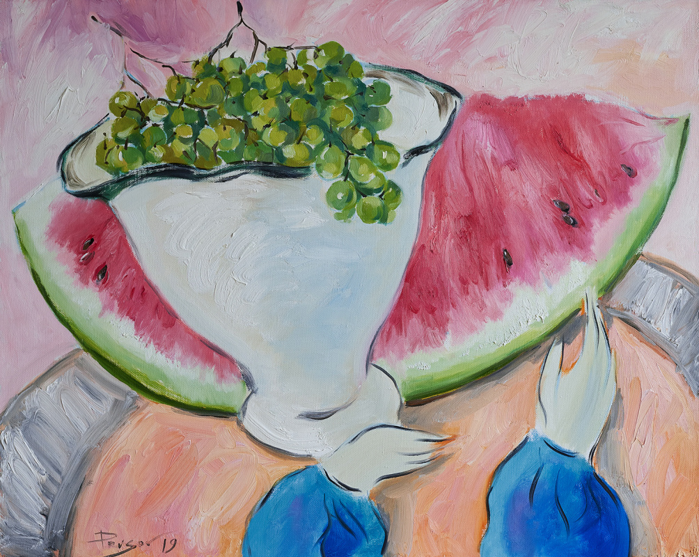 Konstantin Prusov. Watermelon and grapes in a vase