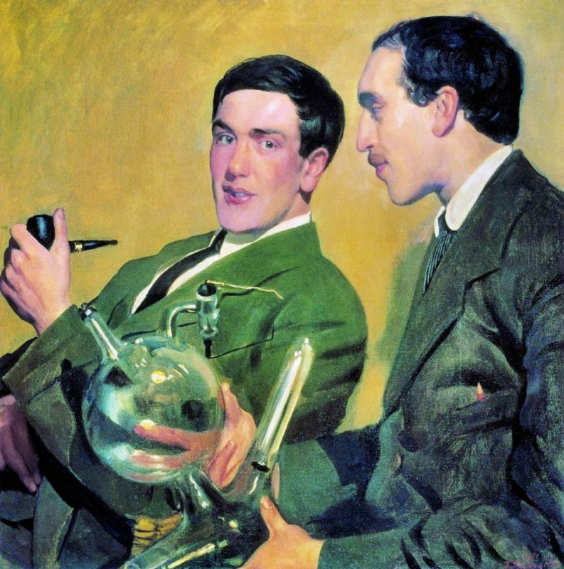 Boris Mikhailovich Kustodiev. Portrait of Pyotr Kapitsa and Nikolay Semyonov