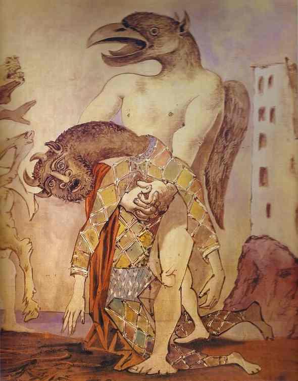 Пабло Пикассо. Минотавр в костюме арлекина (фрагмент)