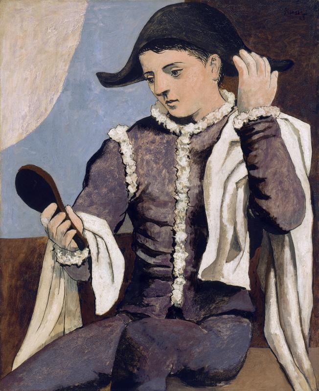 Пабло Пикассо. Арлекин с зеркалом
