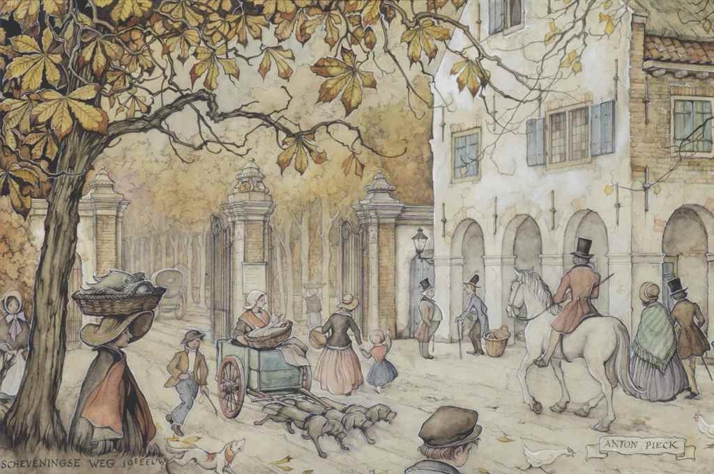 Anton Pieck. City scenes. The Road Of Scheveningen