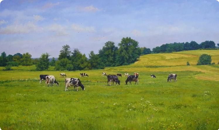 Геннадий Кириченко. Пейзаж с коровами