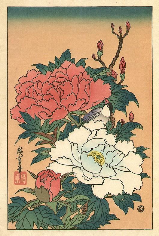 Utagawa Hiroshige. A bird amongst blossoming peonies