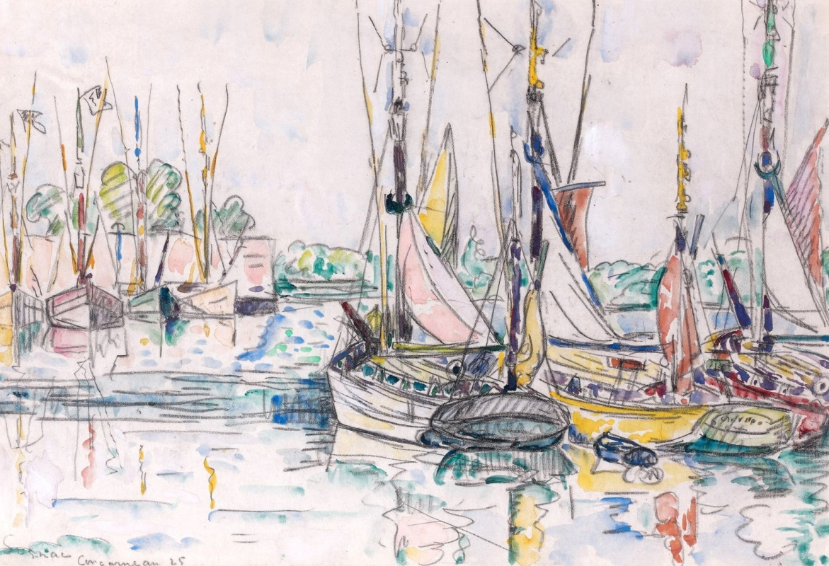 Paul Signac France 1863 - 1935. Concarneau, fishing vessels. 1925