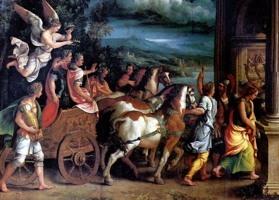 Giulio Romano. The triumph of Titus and Vespasian