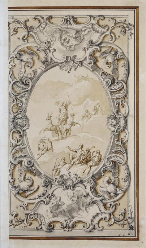 Джузеппе Валериани. Эскиз плафона с Дианой на колеснице, запряженной оленями