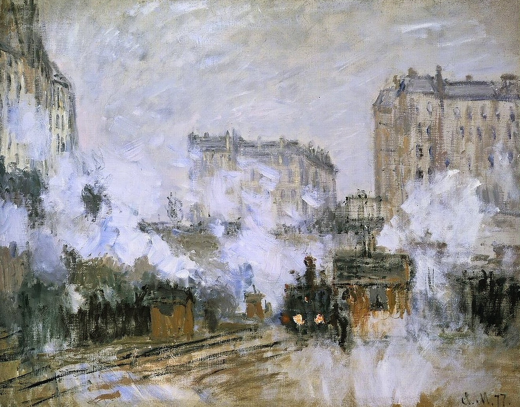 Claude Monet. The appearance of the Saint-Lazare station, arrival of a train