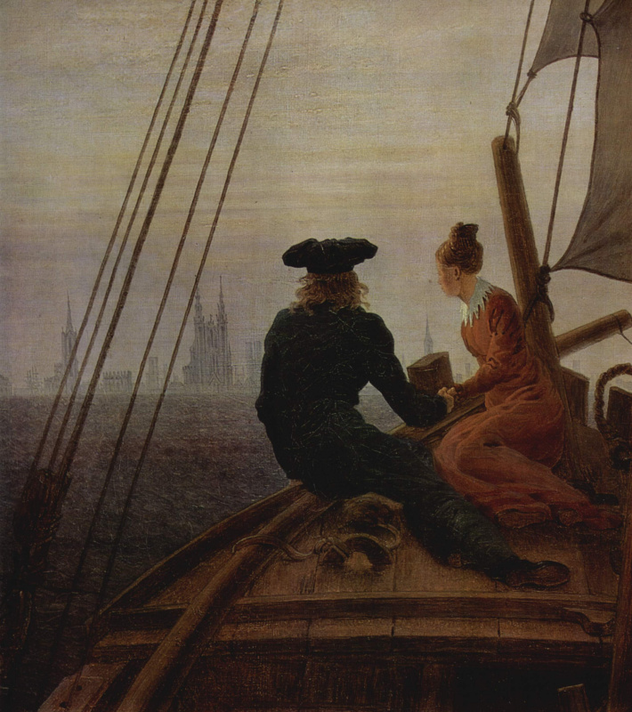 Caspar David Friedrich. On the sailboat. Detail