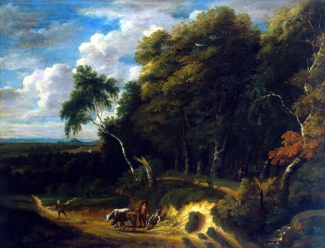 Жак д Артуа. Пейзаж с погонщиками скота на дороге