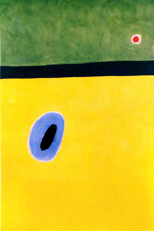 Joan (Joan) Miro. The wings of a lark surrounded by golden blue join the heart of a poppy sleeping in a diamond-studded meadow.