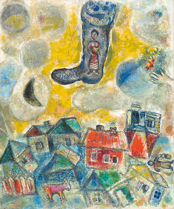 Марк Захарович Шагал. Сапог на желтом небе