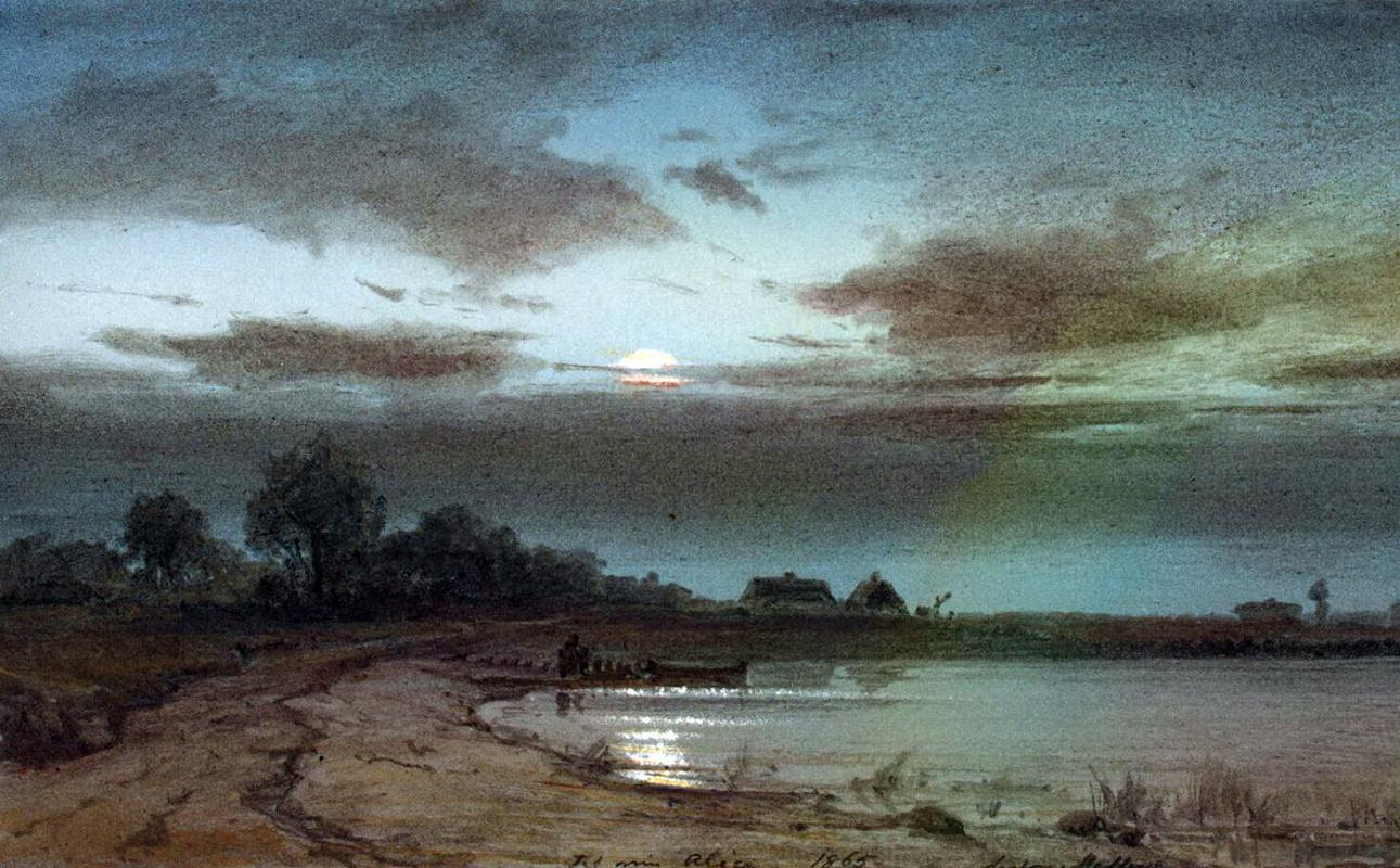 Антон Мельби. Река лунной ночью