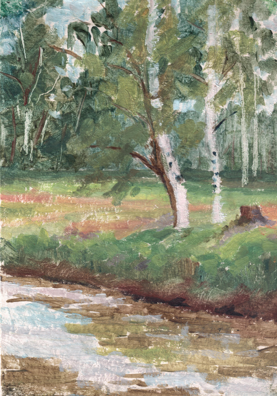 Dmitry Arkadevich Laptev. Birches at the stream