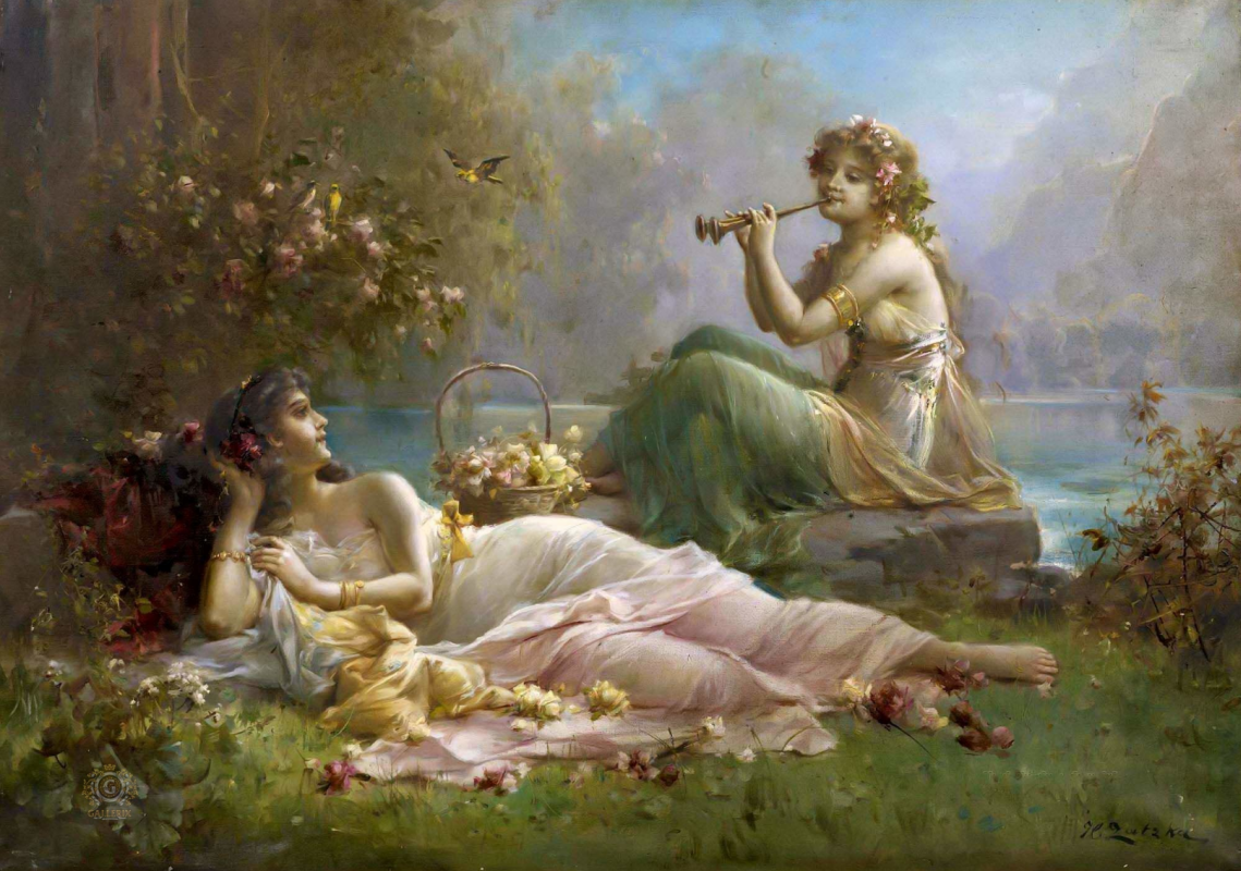 Hans Zack. Two nymphs near the water.
