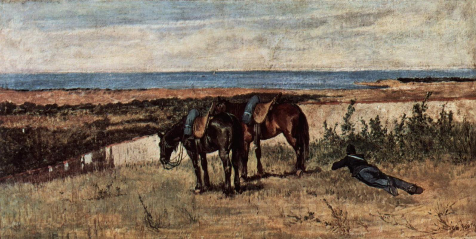 Giovanni Fattori. Soldier with two horses on the seashore