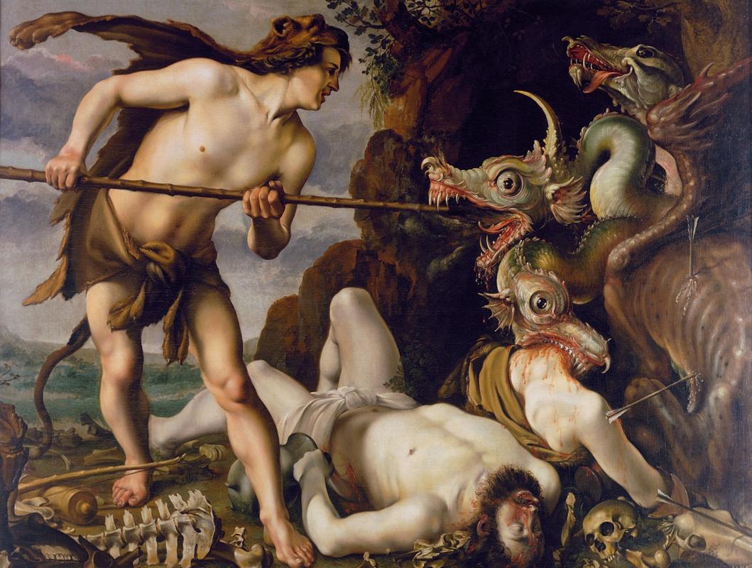 Hendrik Goltzius. Cadmus kills the dragon.