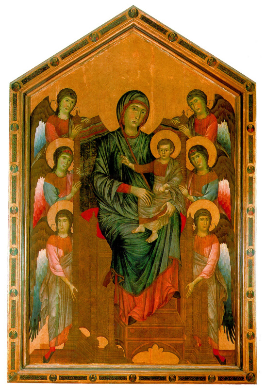 Пепо Ченни Ди. Богоматерь с младенцем на троне в окружении ангелов