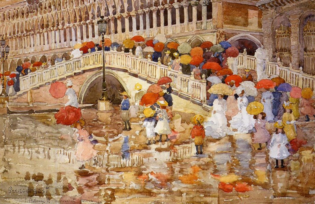 Maurice Braziel Prendergast. Umbrellas in the rain Venice