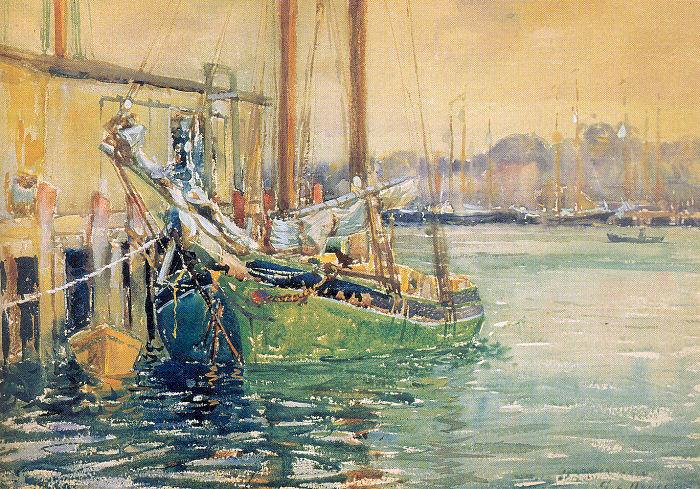 George Noyes. Green boat
