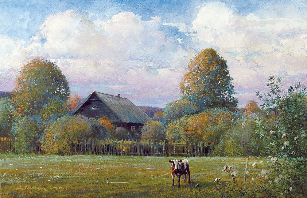 Alexander Shevelyov. Calf. Paper, watercolor, pastel, 34 x 54 cm 2004