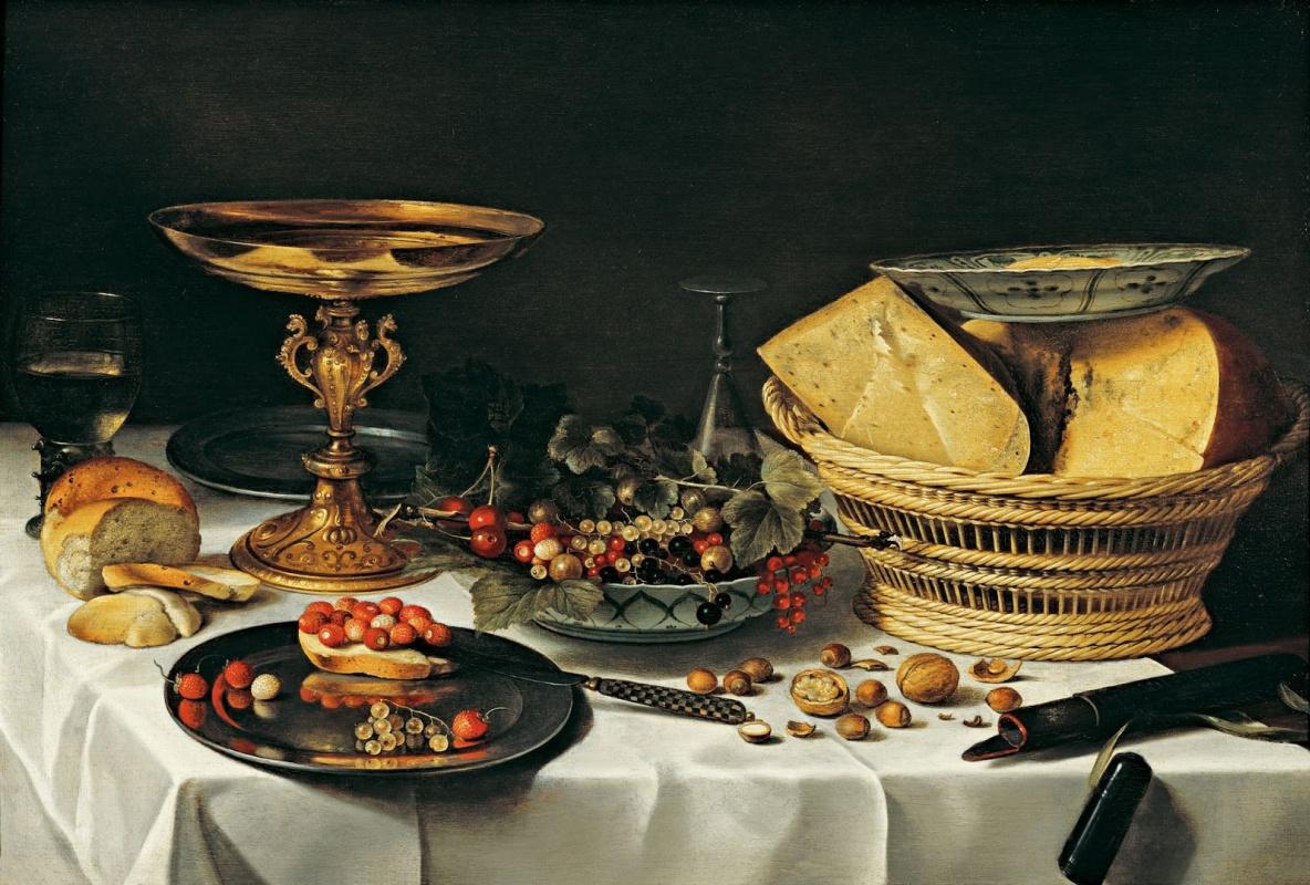 Питер Клас. Фрагмент банкета. Натюрморт с сыром и фруктами.