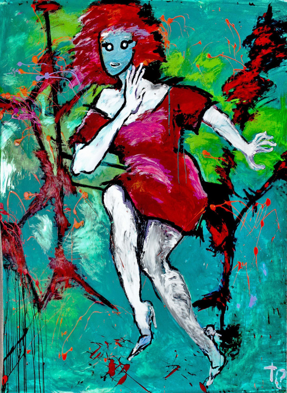 Таня Стрельбицкая. Автопортрет. Красное платье юности.