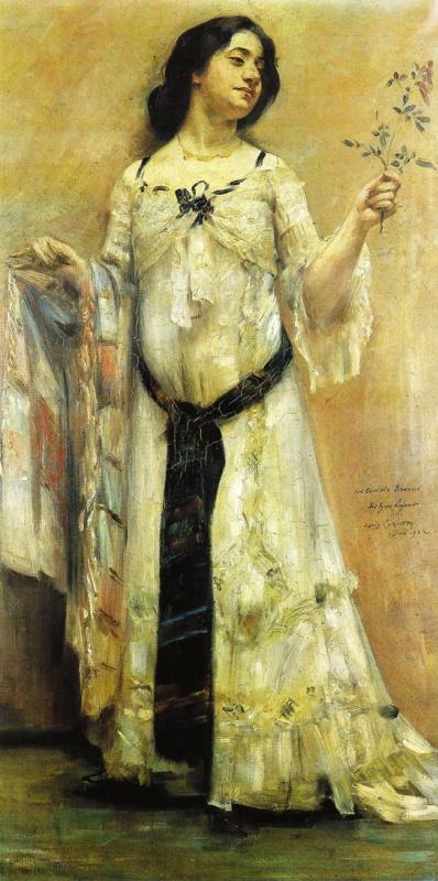Lovis Corinto. Portrait of Charlotte Berend in a white dress