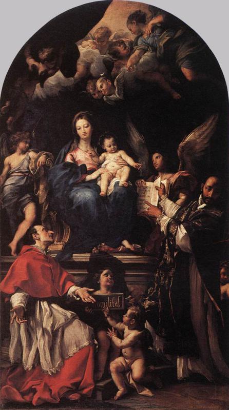 Карло Маратта. Мадонна с младенцем на троне с ангелами и святыми
