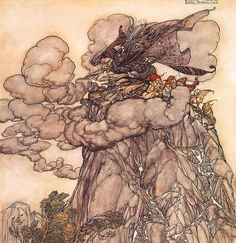 Arthur Rackham. Clouds are black as ink