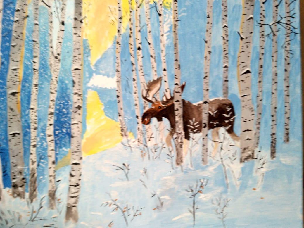 Leonid Sergeevich Voroshnin. Elk in the winter forest