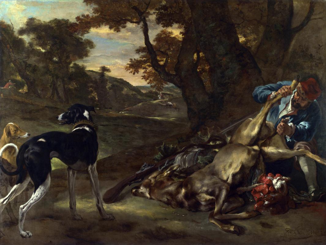 Ян Батист Веникс. Охотник режет мертвого оленя