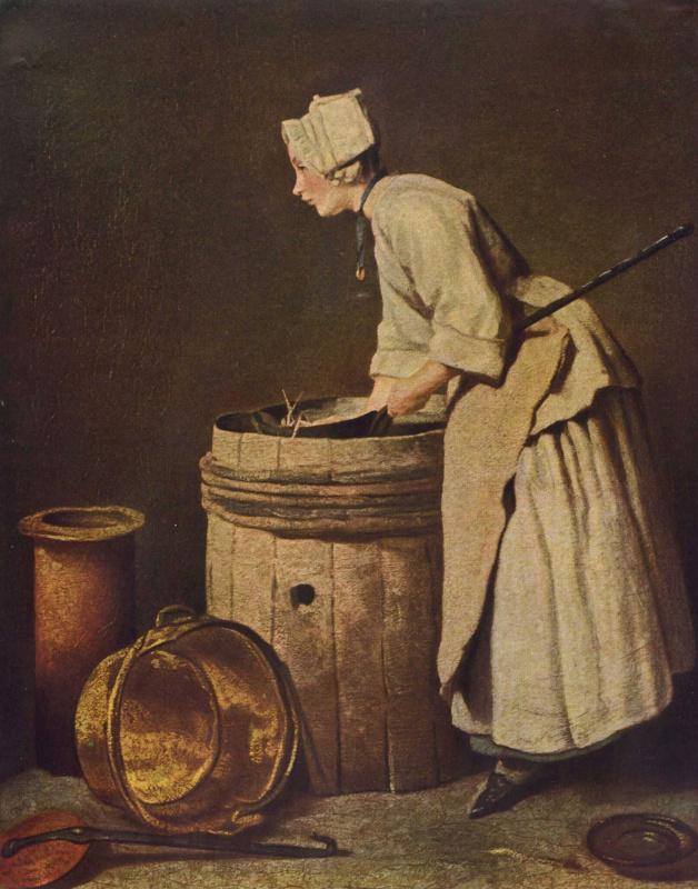 Жан Батист Симеон Шарден. Кухарка, моющая посуду
