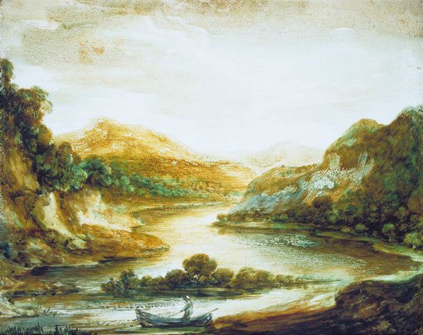 Thomas Gainsborough. Landscape with river and fisherman in a boat