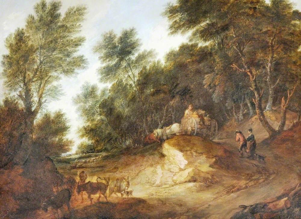 Томас Гейнсборо. Пейзаж с повозкой на холме