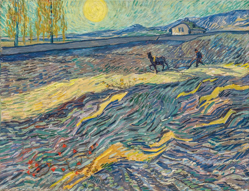 Vincent van Gogh. Enclosed Field with Ploughman.Saint-Rémy