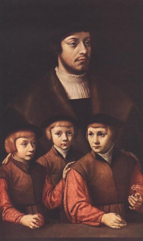 Бартель Брун. Портрет мужчины с тремя сыновьями