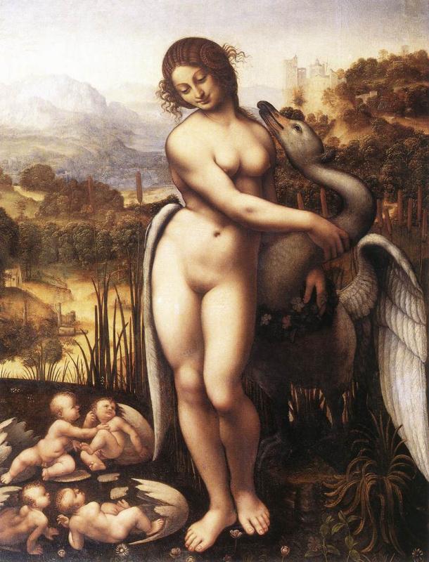 Leonardo da Vinci. Leda and the Swan