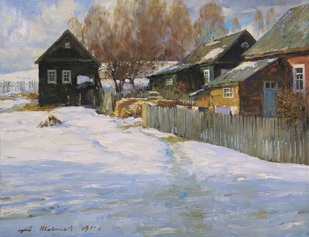 Alexander Victorovich Shevelyov. Country yard. Oil on canvas 34.5 x 44.5 cm. 2009