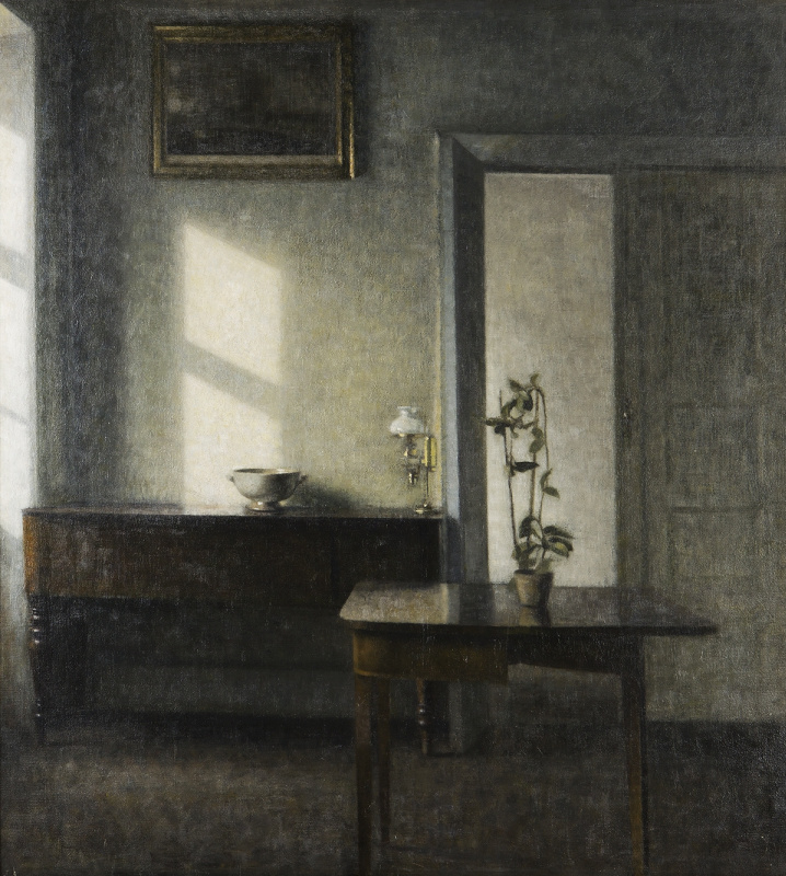 Interior with a flower pot on the card table. Bridged, 25