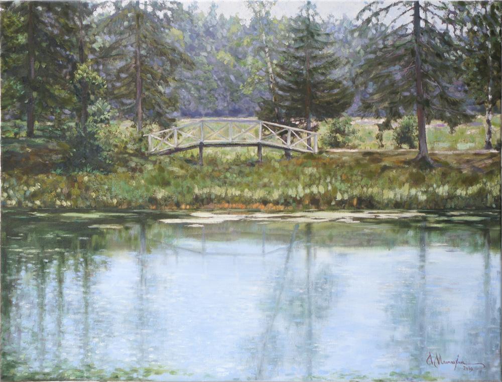 Alexander Matyukhin. Bridge in Abramtsevo (oil on canvas 45x60 cm)