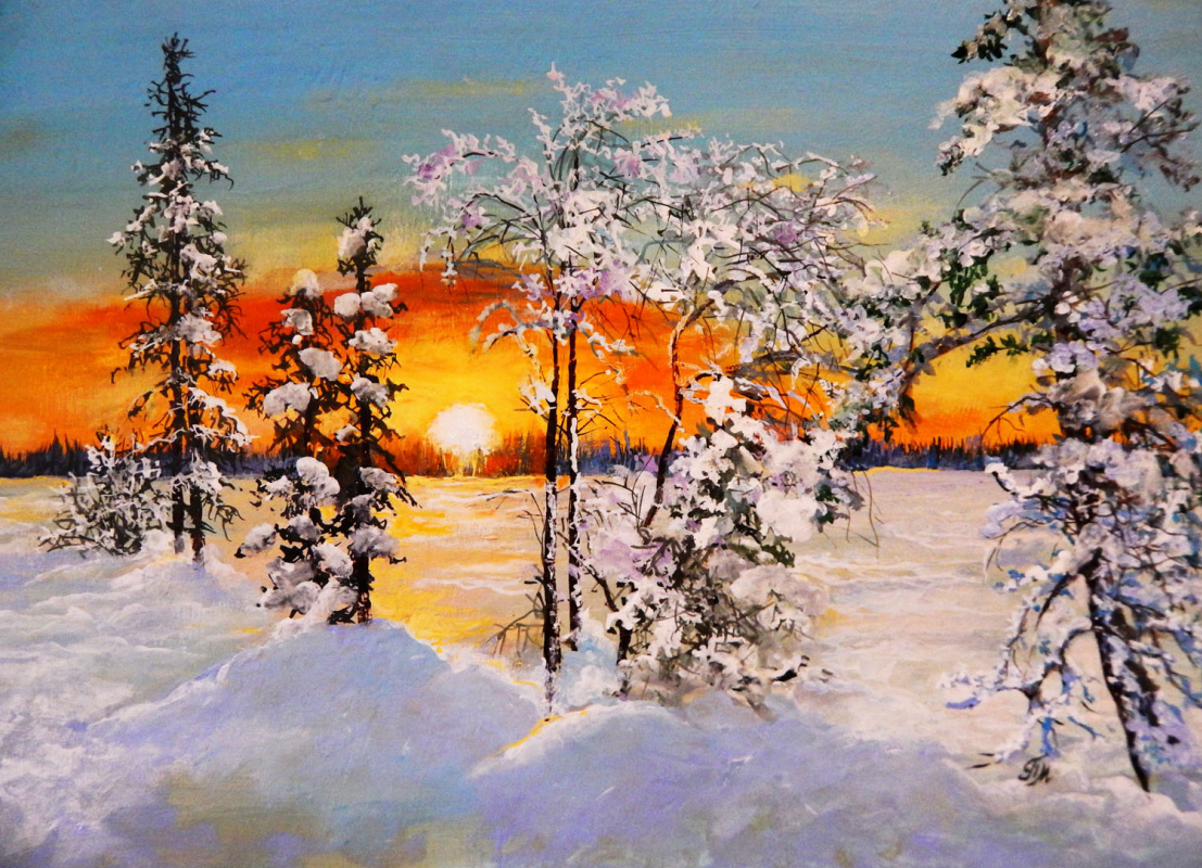 Marina Vladimirovna Patrikeeva. The charm of a winter forest at sunset